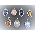 Framed Teardrop  Gemstone Pendant - Assorted Stone Available