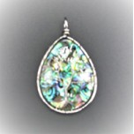 Abalone Teardrop Style With Tree Wire pendant - 2 inch Style 1