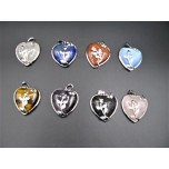 Gemstone Heart with Rose Pendant - Assorted stones available