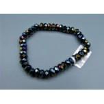 5x8 mm Faceted Gemstone Stretch Bracelet - AB Black Onyx