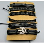 Leather Style Bracelet with Assorted Pack of 6 - Style 1 w Black and Brown available