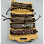 Leather Style Bracelet with Assorted Pack of 6 - Style 2 w Black and Brown available