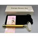 Facial Massage Roller - Electric Sonic Golden Pulse Massager with Gemstone Roller - Clear Quartz