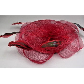 Fashion Hair Clip with Mesh Flower, Feathers - Burgundy