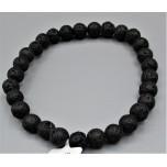 6 mm Gemstone Round Bead Bracelet - Volcanic Rock