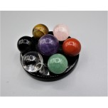 Gemstone Chakra Set with Black stand (15 mm / 17 mm Sphere & 2 inch OD on stand)