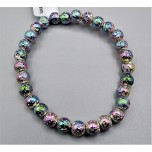 6 mm Gemstone Round Bead Bracelet - Volcanic Rock AB Color