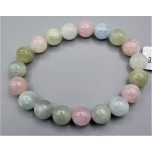 12-14 mm Gemstone Round Bead Bracelet - Morganite