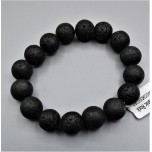 12 mm Gemstone Round Bead Bracelet - Volcanic Rock