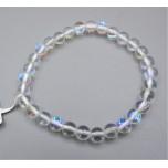 6 mm Gemstone Round Bead Bracelet - Crystal Clear AB