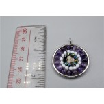 Mandala Pendant with Stainless Steel / sphere - Amethyst  - 10 pieces Pack