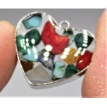 "Stainless Steel Heart Shape (15 mm or 5/8"") Pendant with chips - Assorted - 10 pieces Pack"