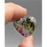 "Stainless Steel Heart Shape (15 mm or 5/8"") Pendant with chips - Tourmaline - 10 pieces Pack"