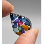 "Stainless Steel Teardrop Shape (20 mm or 0.8"") Pendant with chips - Assorted Stones - 10 pieces Pack"