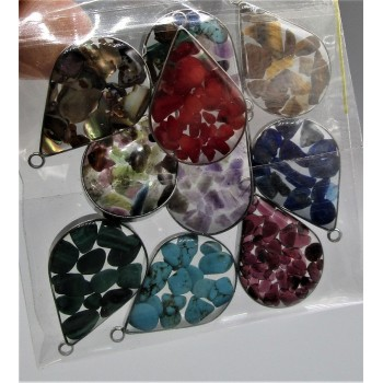 """Stainless Steel Teardrop Shape (20 mm or 0.8"""") Pendant with chips - 10 pieces Mix Pack"""