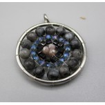 Mandala Pendant with Stainless Steel / sphere - Labradorite  - 10 pieces Pack