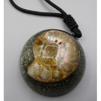 Gemstone Necklace - Ammonite with Pyrite (1.5 inch OD)