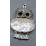 Wrapped Gemstone Owl Pendant - Shell