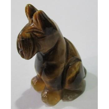 Dog (Schnauzer Sitting) 1.5 Inch Figurine - Tigereye