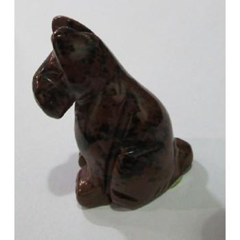 Dog (Schnauzer Sitting) 1.5 Inch Figurine - Mahogany Obsidian
