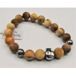 10 mm Petrified Wood Bracelet - with skull