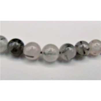 16 Inch 8 mm Gemstone Round Bead Strand - Rutilated Black Quartz