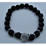 6 mm Lava Bracelet with Crystal Tiger Face bead