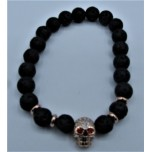 6 mm Lava Bracelet with Crystal Skull bead