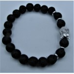6 mm Lava Bracelet with Buddha Face bead