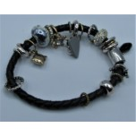 Leather Bracelet - Black - Single Strand with Assorted Beads
