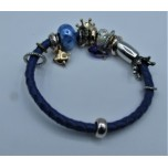 Leather Bracelet - Blue - Single Strand with Assorted Beads