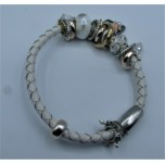 Leather Bracelet - White - Single Strand with Assorted Beads