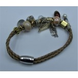 Leather Bracelet - Light Brown - 2 Strands with Assorted Beads