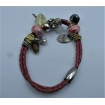 Leather Bracelet - Peach - 2 Strands with Assorted Beads