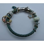 Leather Bracelet - Green - Single Strand with Assorted Beads