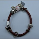 Leather Bracelet - Red - Single Strand with Assorted Beads