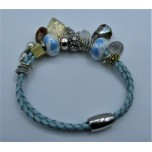 Leather Bracelet - Light Green - 2 Strands with Assorted Beads