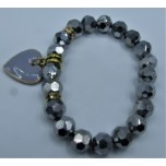 Crystal Bracelet 10 mm Faceted with Heart - Silver color