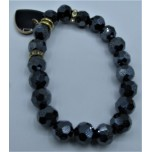 Crystal Bracelet 10 mm Faceted with Heart - Midnight Blue Color