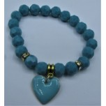 Crystal Bracelet 10 mm Faceted with Heart - Teal Color