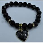 Crystal Bracelet 10 mm Faceted with Heart - Black Color