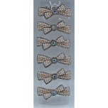 Bow style Hair Clip Rhinestone embellish  with Crystal  - 6 piece pack