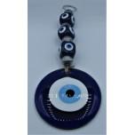 Eye Metal Pendant - Large Blue Eye with 3 square eyes (25 cm total length)