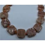 14 x 14 mm Gemstone Bead Strand - Golden Sunstone