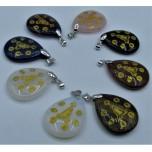 Flat Teardrop Pendant with Bail and Kwin Yin - Assorted Stones