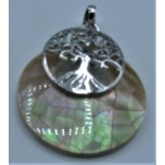 Round Shape Pendant with Tree of Life - Shell Gold and Silver