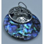 Round Shape Pendant with Tree of Life - Abalone