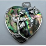 Heart Pendant with Roses - Abalone