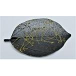 Leaf Pendant - Black with Gold Vine