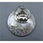 Round Shape Pendant with Kwan Yin - Shell Silver